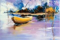 La barque jaune.46x33 cm